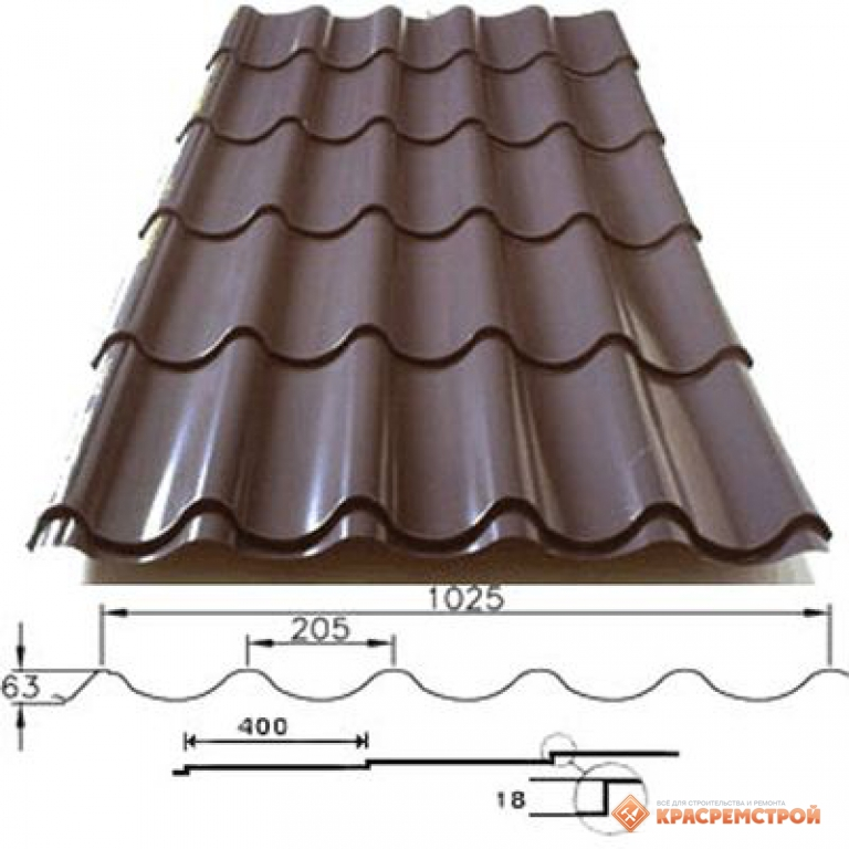 Металлочерепица цвет ral 8017 или rr32 коричневая шоколад