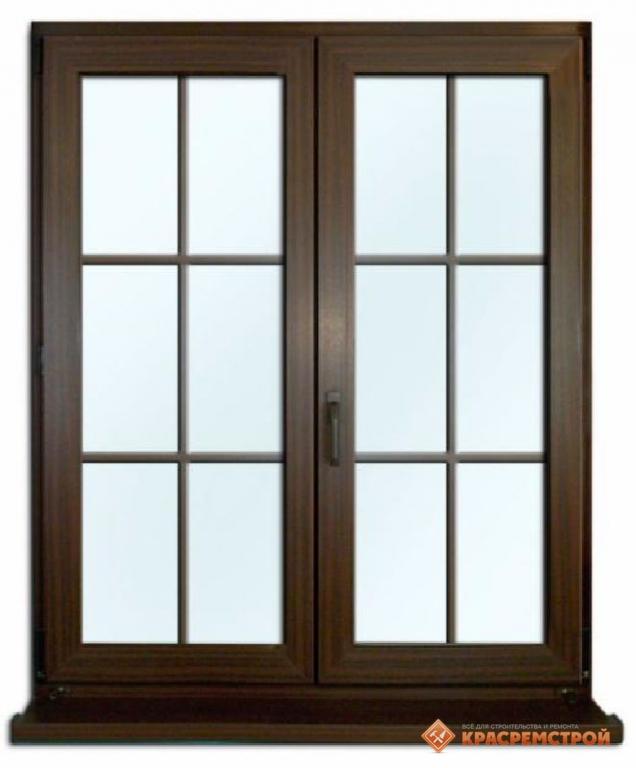 Коричневые окна с раскладкой